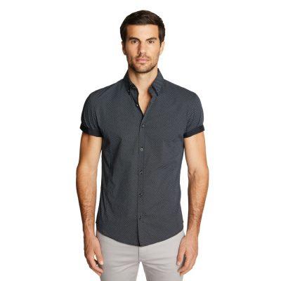 Fashion 4 Men - Tarocash Speedster Muscle Stretch Geo Shirt Black Xxl