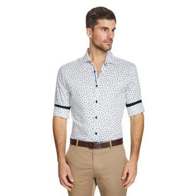 Fashion 4 Men - Tarocash Tanner Slim Textured Floral Shirt White S