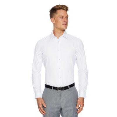 Fashion 4 Men - Tarocash Webster Slim Easy Iron Shirt White M