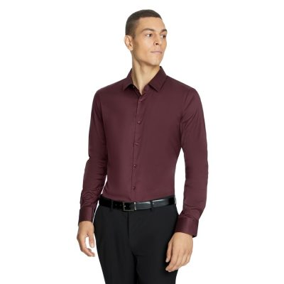 Fashion 4 Men - yd. Axe Slim Dress Shirt Burgundy S