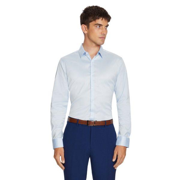 Fashion 4 Men - yd. Axe Slim Dress Shirt Ice Blue S