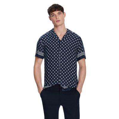 Fashion 4 Men - yd. Aztec Border Shirt Navy M