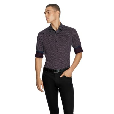Fashion 4 Men - yd. Banks Slim Shirt Burgundy 2 Xs
