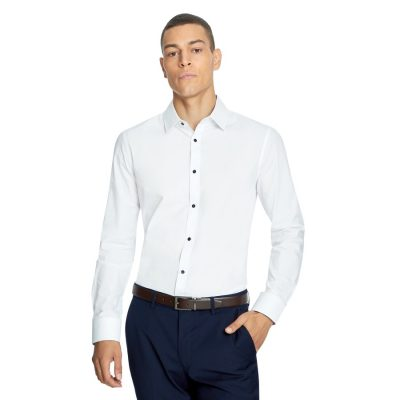 Fashion 4 Men - yd. Blanc Slim Dress Shirt White M