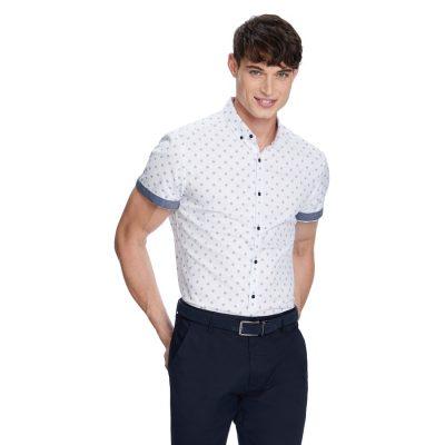 Fashion 4 Men - yd. Humphrey Print Shirt White M