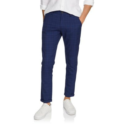Fashion 4 Men - yd. Mcvale Check Chino Blue 32
