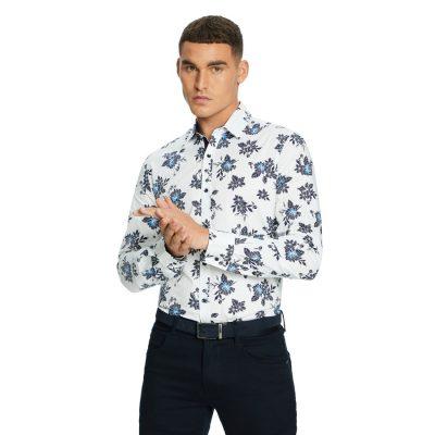 Fashion 4 Men - yd. Rassina Slim Shirt Blue Print M