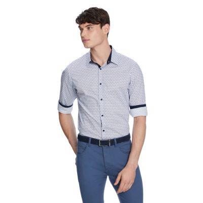 Fashion 4 Men - yd. Scalene Geo Slim Shirt Blue 2 Xs