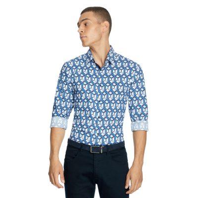 Fashion 4 Men - yd. Stanton Geo Slim Shirt Blue S