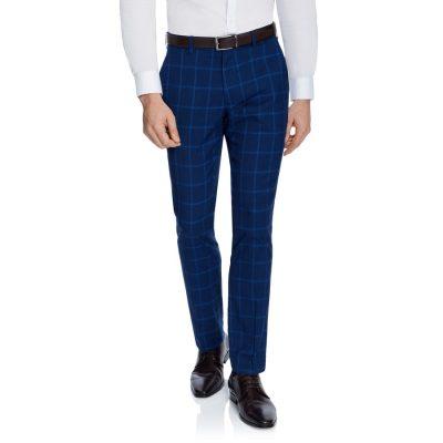 Fashion 4 Men - yd. Wolfe Check Skinny Dress Pant Blue 42