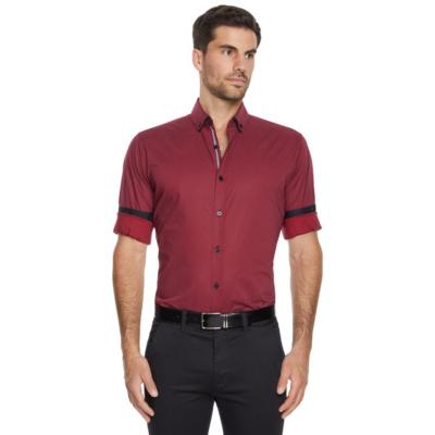 Fashion 4 Men - Tarocash Earl Stretch Geo Shirt Red Xs