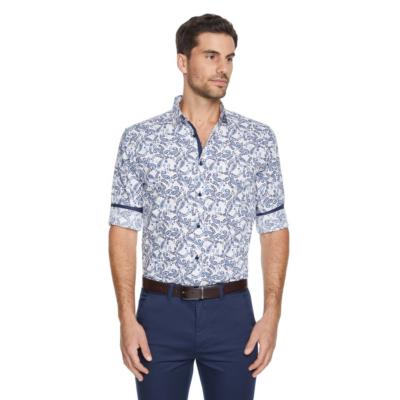 Fashion 4 Men - Tarocash Garvey Slim Paisley Shirt White Xxxl