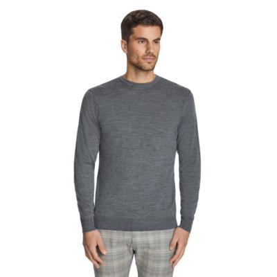 Fashion 4 Men - Tarocash Merino Wool Crew Neck Knit Grey Marle M