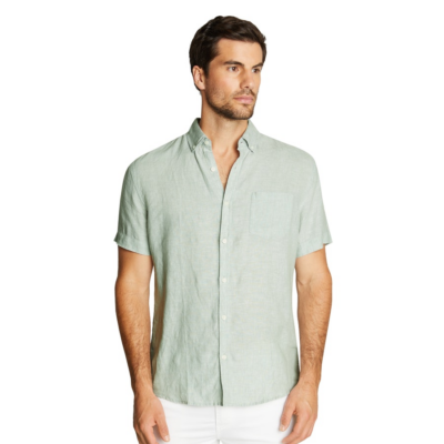 Fashion 4 Men - Tarocash Robbie Pure Linen Shirt Sage Xl
