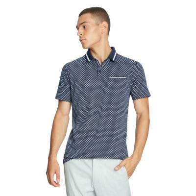 Fashion 4 Men - yd. Marconi Print Polo Navy 2 Xs
