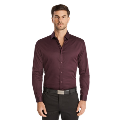 Fashion 4 Men - Tarocash Bahamas Slim Stretch Shirt Aubergine M